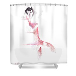Shower Curtain featuring the painting Flamenco Geometric Cc101 by Kip DeVore