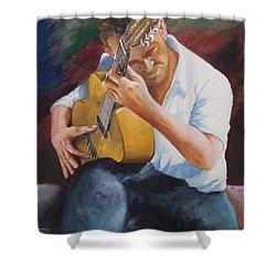 Flamenco Guitar Shower Curtain by Charles Hetenyi
