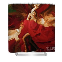 Shower Curtain featuring the painting Flamenco Spanish Dance Painting 01 by Gull G