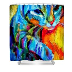 Flaming Blue And Orange Kitty Cat Tiger Resting Gently From The Prowl Shower Curtain by MendyZ