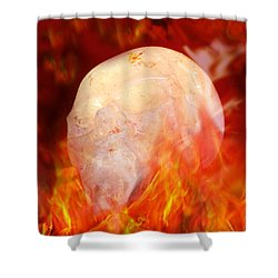 Flaming Crystal Skull Shower Curtain by Terri Waters