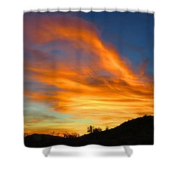 Flaming Hand Sunset Shower Curtain