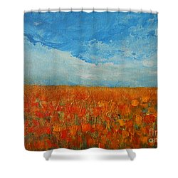Flaming Orange Shower Curtain by Jane See