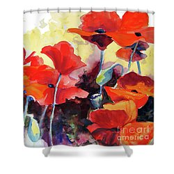 Flaming Poppies Shower Curtain