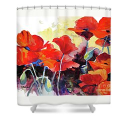 Shower Curtain featuring the painting Flaming Poppies by Kathy Braud