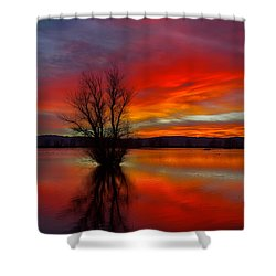 Flaming Reflections Shower Curtain