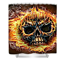 flaming skull Punk Gothic Biker Art Shower Curtain