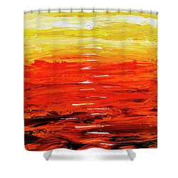Shower Curtain featuring the painting Flaming Sunset Abstract 205173 by Mas Art Studio