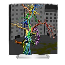 Flaming Tree Shower Curtain