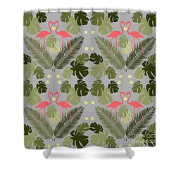 Flamingo And Palms Shower Curtain