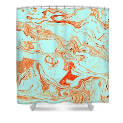 Flamingo And Sea Marble Shower Curtain