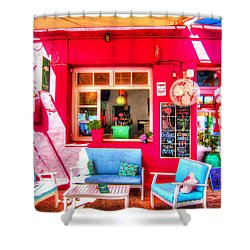 Flamingo Beach Bar Shower Curtain