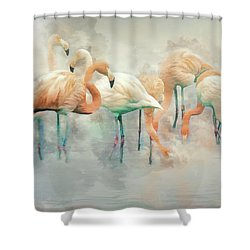 Flamingo Fantasy Shower Curtain by Brian Tarr