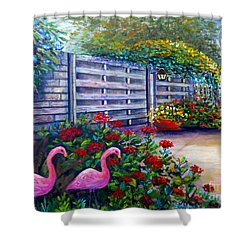 Flamingo Gardens Shower Curtain by Lou Ann Bagnall