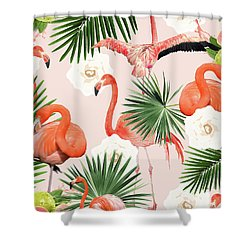 Flamingo Guava Shower Curtain