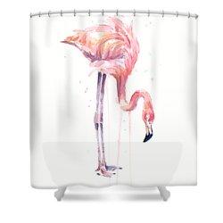Flamingo Illustration Watercolor - Facing Left Shower Curtain by Olga Shvartsur