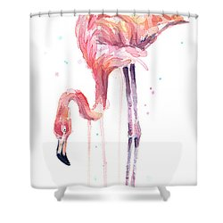Flamingo Illustration Watercolor - Facing Left Shower Curtain