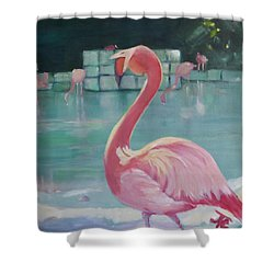 Flamingo Shower Curtain by Julie Todd-Cundiff