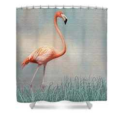 Flamingo Shower Curtain by Lena Auxier