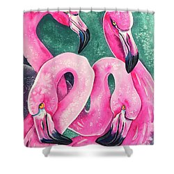 Shower Curtain featuring the painting Flamingo Magic by Zaira Dzhaubaeva