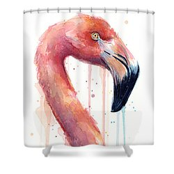 Flamingo Painting Watercolor - Facing Right Shower Curtain by Olga Shvartsur