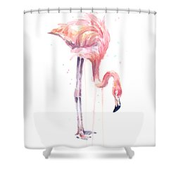 Flamingo Painting Watercolor Shower Curtain by Olga Shvartsur