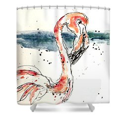 Flamingo Pool Shower Curtain