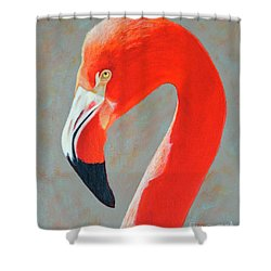 Shower Curtain featuring the painting Flamingo Portrait by Jimmie Bartlett