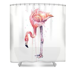 Flamingo Watercolor - Facing Left Shower Curtain