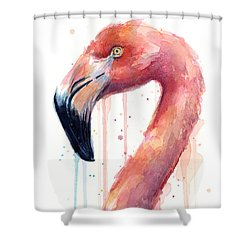 Flamingo Watercolor Illustration Shower Curtain
