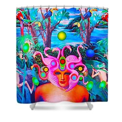 Shower Curtain featuring the photograph Flamingodeusa In The Neon Jungle by Douglas Fromm
