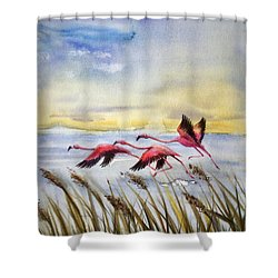 Flamingoes Flight Shower Curtain