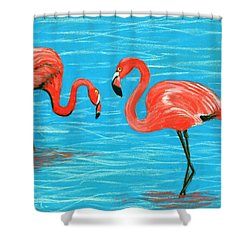 Shower Curtain featuring the painting Flamingos by Anastasiya Malakhova