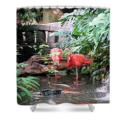 Flamingos Shower Curtain by Betty Buller Whitehead
