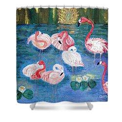Flamingos Diptich Right Shower Curtain by Vicky Tarcau