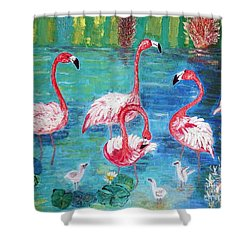 Flamingos Diptich Left Shower Curtain by Vicky Tarcau