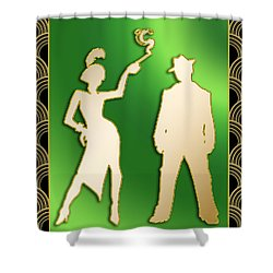 Shower Curtain featuring the digital art Flapper And The Gangster by Chuck Staley