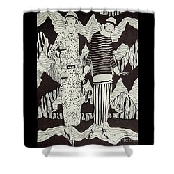 Flapper Girls Shower Curtain by Tamyra Crossley