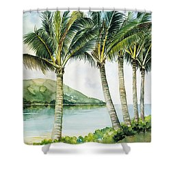 Flapping Palm Trees Shower Curtain by Han Choi - Printscapes