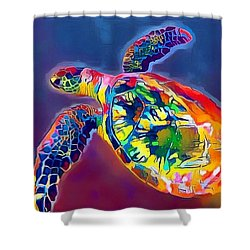 Flash The Turtle Shower Curtain by Erika Swartzkopf
