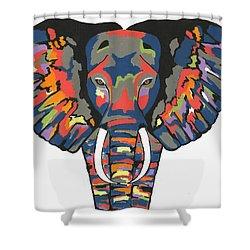 Flashy Elephant Shower Curtain by Kathleen Sartoris