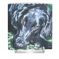 Shower Curtain featuring the painting Flat Coated Retriever by Lee Ann Shepard