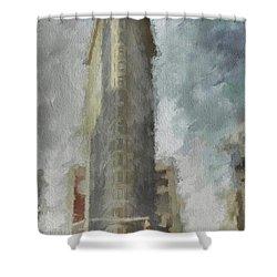 Shower Curtain featuring the digital art Flat Iron by Jim  Hatch