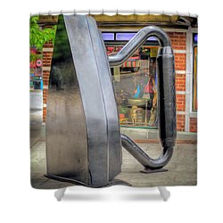 Shower Curtain featuring the photograph Flat Iron Sculpture by Marion Johnson