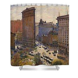 Shower Curtain featuring the painting Flatiron Building New York By Samuel Halpert by Samuel Halpert