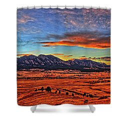 Shower Curtain featuring the photograph Flatiron Sunset Fire Red by Scott Mahon