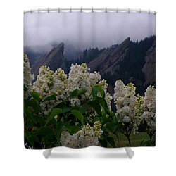 Flatirons White Lilacs Shower Curtain