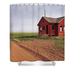 Flatland Schoolhouse Shower Curtain