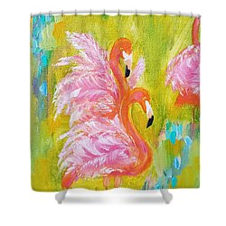Shower Curtain featuring the painting Flaunting Feathers by Judith Rhue