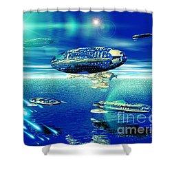 Fleet Aqua Shower Curtain by Jacqueline Lloyd